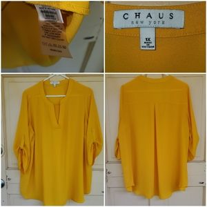 Chaus Long Sleeve button down yellow blouse
